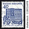 GERMANY - CIRCA 1965: a stamp printed in the Germany shows Trifels Fortress, Palatinate, circa 1965 - stock photo