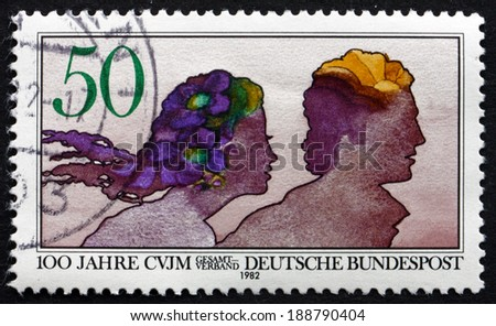 GERMANY - CIRCA 1982: a stamp printed in the Germany shows Young Men's Christian Association, Centenary, circa 1982 - stock photo