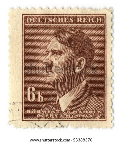 GERMANY - CIRCA 1937: An GERMANY Used Postage Stamp showing Portrait of Adolf Hitler, circa 1937. - stock photo