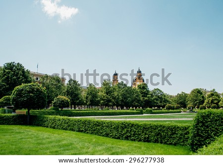 GERMANY, CIRCA 2010: Hofgarten - Court Garden - is a garden in the center of Munich, Germany, located between the Residenz and the Englischer Garten. Clear sky and perfect green german meadows - stock photo