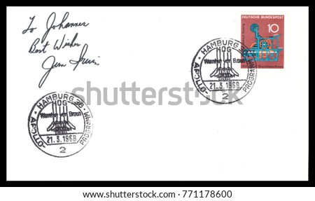 Germany - CIRCA March 21st 1968: Nasa, German postal service first day cover with hand written signature,  commemorating: Apollo  spaceship  Project.