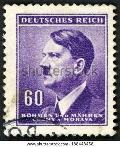 GERMANY - CIRCA 1942: post stamp printed in the Protectorate Czech and Morava shows portrait of Adolf Hitler (politician, leader of Nazi Party, dictator, veteran of World War), 60pf violet, circa 1942 - stock photo