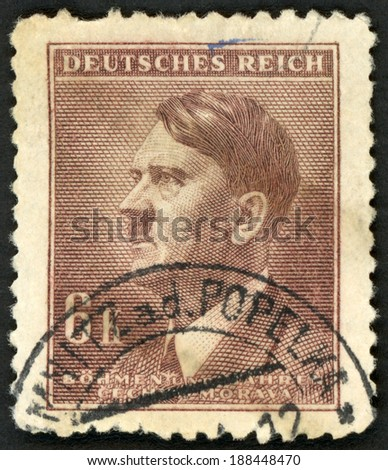 GERMANY - CIRCA 1942: post stamp printed in the Protectorate Czech and Morava shows portrait of Adolf Hitler (politician, leader of Nazi Party, dictator, veteran of World War), 6k brown, circa 1942 - stock photo