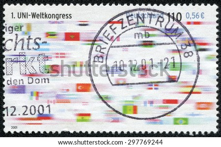 GERMANY - CIRCA 2001: Postage stamp printed in Germany, dedicated to First World Congress of Union First World Congress of Union, circa 2001 - stock photo