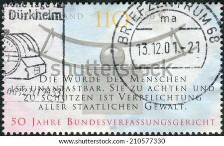 GERMANY - CIRCA 2001: Postage stamp printed in Germany, dedicated to the 50th anniversary of the Federal Constitutional Court, Karlsruhe, circa 2001