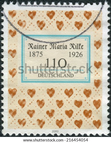 GERMANY - CIRCA 2000: Postage stamp printed in Germany, dedicated to the 125th anniversary of the birth of the poet Rainer Maria Rilke, circa 2000  - stock photo