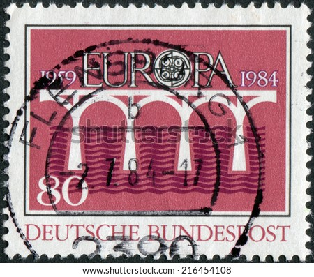 GERMANY - CIRCA 1984: Postage stamp printed in Germany, dedicated to the 25th anniversary of the European Conference of Postal and Telecommunications Administrations (CEPT), circa 1984  - stock photo