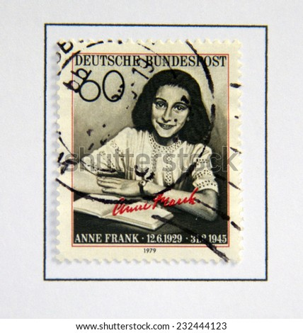 GERMANY CIRCA 1979: postage stamp printed in Germany showing an image of Anne Frank, circa 1979.