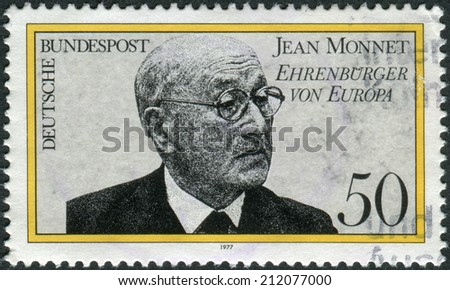 GERMANY - CIRCA 1977: Postage stamp printed in Germany, shows a Jean Monnet, French proponent of unification of Europe, became first Honorary Citizen of Europe in Apr. 1976, circa 1977
