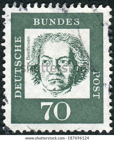 GERMANY - CIRCA 1961: Postage stamp printed in Germany, shows portrait of Ludwig van Beethoven, circa 1961 - stock photo