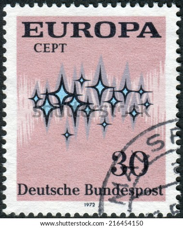 "GERMANY - CIRCA 1972: Postage stamp printed in Germany, shows the abstract symbols and the word ""Europe"", circa 1972"