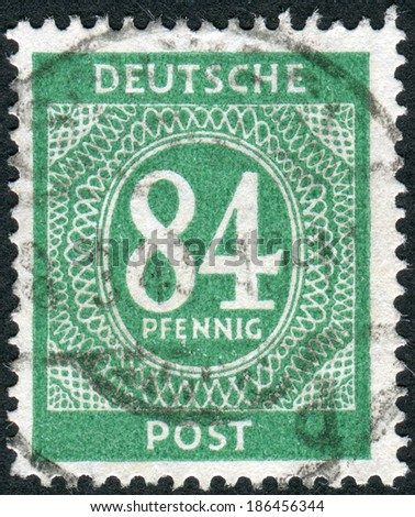 GERMANY - CIRCA 1946: Postage stamp printed in Germany, shows the face value stamps, circa 1946