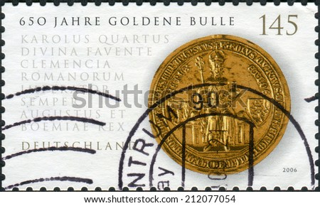GERMANY - CIRCA 2006: Postage stamp printed in Germany, shows the Golden Bull of Emperor Charles IV, circa 2006  - stock photo