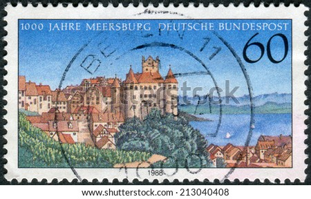 GERMANY - CIRCA 1988: Postage stamp printed in Germany, shows the Town of Meersburg, circa 1988  - stock photo