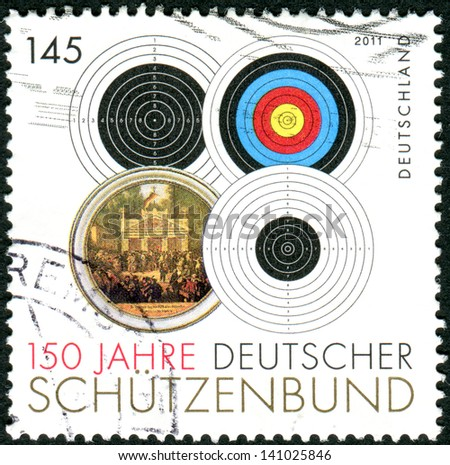 GERMANY - CIRCA 2011: Postage stamps printed in Germany, dedicated to the 150th anniversary of the German Shooting Federation, shows the different types of targets, circa 2011