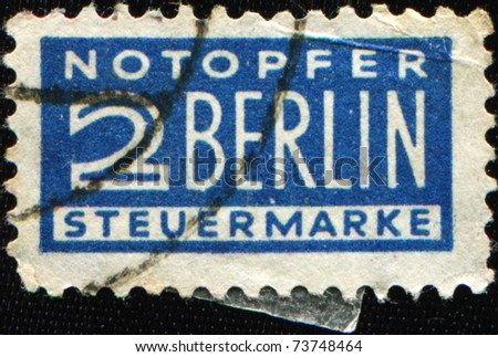 GERMANY - CIRCA 1948 - 1956:  Postal tax stamp printed in Germany in favor of West Berlin, circa 1948 - 1956