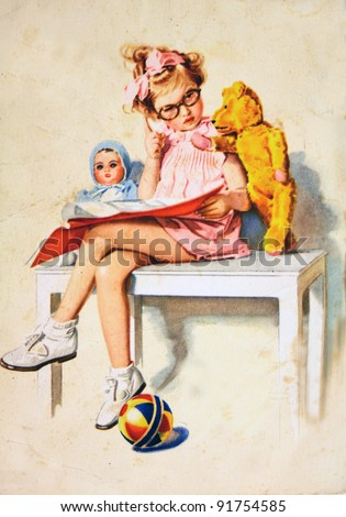 GERMANY - CIRCA 1958: Postcard printed in GDR shows Girl sitting on a bench with a doll and teddy bear, circa 1958 - stock photo