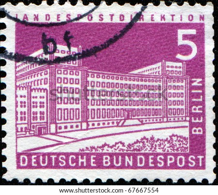 GERMANY - CIRCA 1970s: stamp printed in Germany shows Berlin, Central Post Office, circa 1970s