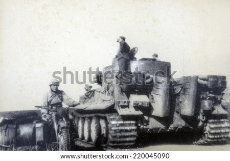 GERMANY - CIRCA 1940s: Tiger II is the common name of a German heavy tank of the Second World War. The final official German designation was Panzerkampfwagen Tiger Ausf. B, often shortened to Tiger B. - stock photo