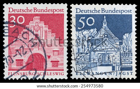 GERMANY- CIRCA 1965: stamp printed by Germany, shows ancient architecture in Germany, circa 1965. - stock photo