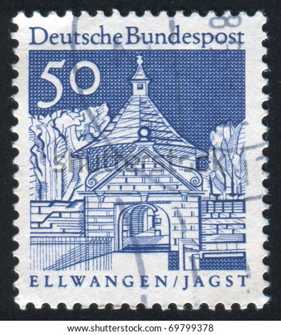 GERMANY - CIRCA 1965: stamp printed by Germany, shows Castle Gate, Ellwangen, circa 1965