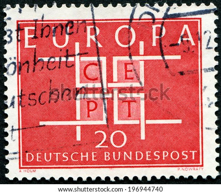 Germany - CIRCA 1968: stamp printed by Germany, shows Europe CEPT emblem, circa 1968