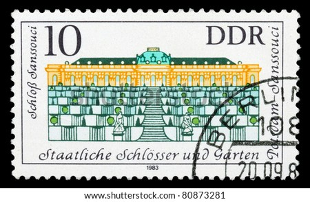 GERMANY- CIRCA 1983: stamp printed by Germany, shows Governmental Palaces, Potsdam Gardens, circa 1983
