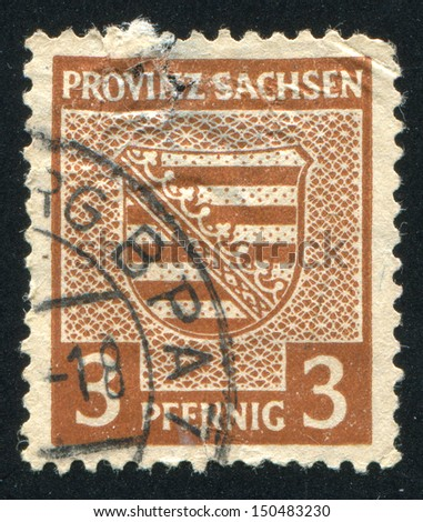 GERMANY - CIRCA 1945: stamp printed by Germany, shows Saxony Coat of Arms, circa 1945
