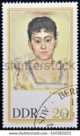 GERMANY - CIRCA 1980: Stamp printed in East Germany shows Portrait of Madame de R. by Ferdinand Hodler, circa 1980