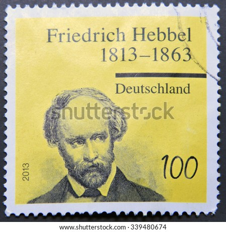 GERMANY - CIRCA 2013:  stamp printed in Germany shows dramatist and poet Friedrich Hebbel, circa 2013 - stock photo