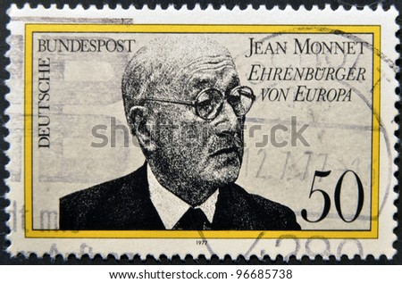 GERMANY- CIRCA 1977: stamp printed in Germany shows Jean Monnet, French proponent of unification of Europe, circa 1977.