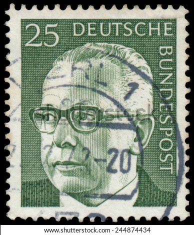 "GERMANY - CIRCA 1970: Stamp printed in Germany, shows portrait of Gustav Walter Heinemann (President of Federal Republic of Germany), series ""President Walter Heinemann"", circa 1970"