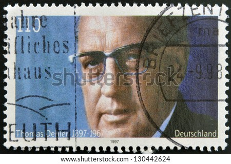GERMANY- CIRCA 1997: stamp printed in Germany shows Thomas Dehler, Politician, circa 1997.