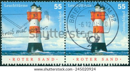 GERMANY - CIRCA 2004: stamp printed in the Germany shows Roter Sand, Lighthouse in the Middle of the North Sea, circa 2004 - stock photo