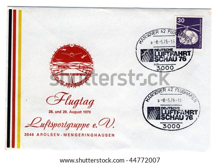 GERMANY - CIRCA 1976: vintage special postmark commemorating 1976 german aviation show at hannover airport, germany circa 1976