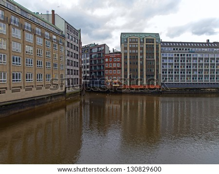 Germany. City of Hamburg. View of channels and houses of traditional architecture