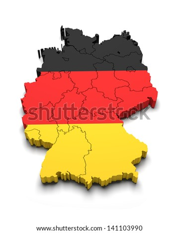 Germany 3D flag map on white isolated - stock photo