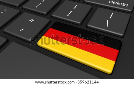 Germany digitalization and use of digital technologies with the German flag on a computer key. - stock photo