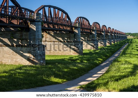 GERMANY, DOEMITZ, 2012-05-25: Historical railwaybridge across the Elbe river, constructed 1870 and destroyed on 20. April 1945 during a allied air raid