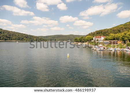 GERMANY - EDERSEE - MEDIA AUGUST 2016: View from the Edersee dam in Germany.