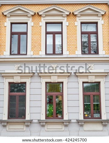 Germany, elegant house facade windows pattern