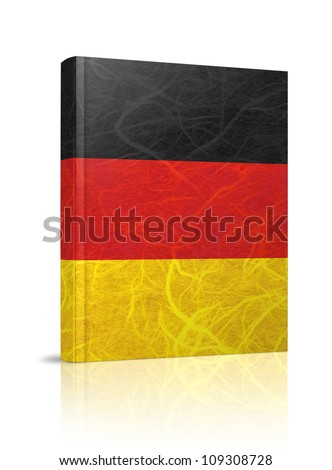 Germany flag book. Mulberry paper on white background. - stock photo