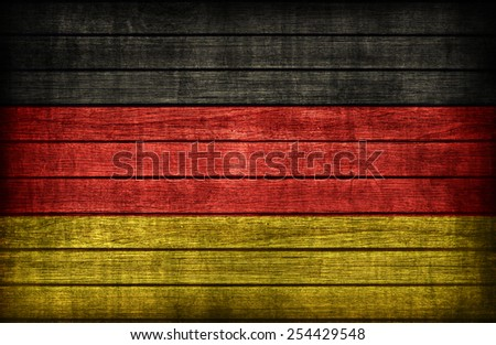 Germany flag pattern on wooden board texture ,retro vintage style - stock photo