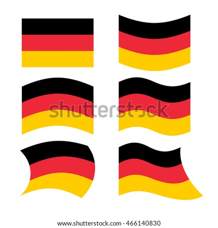 Germany flag. Set of flags of German Republic in various forms.