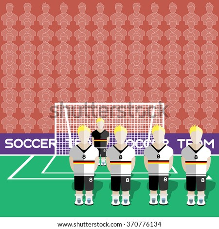 Germany Football Club Soccer Players Silhouettes. Computer game Soccer team players big set. Sports infographic. Football Teams in Flat Style. Goalkeeper Standing in a Goal. Raster illustration. - stock photo