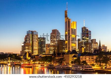 Germany Frankfurt am Main skyline sunset night - stock photo