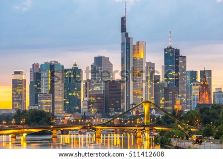 Germany Frankfurt am Main skyline sunset night