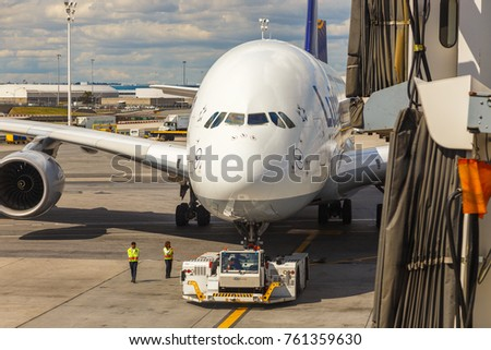 GERMANY, FRANKFURT - 08 September, 2017: Aircraft line Lufthansa Airbus A380 ready for departure. A380 is the flagship of Lufthansas aircraft fleet.