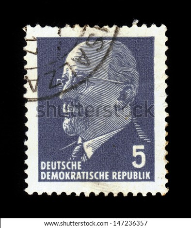 GERMANY-GDR - CIRCA 1971: A stamp printed in GDR (East Germany) shows  portrait of chairman Walter Ulbricht, communist politician, circa 1971