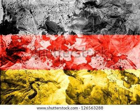 Germany. German flag  painted dirty and grungy paper